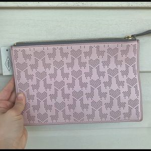 Light pink Fossil clutch — heart & llama print.